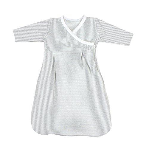 TupTam Baby Unisex Innenschlafsack Langarm, Farbe: Streifenmuster Grau, Größe: 50/56