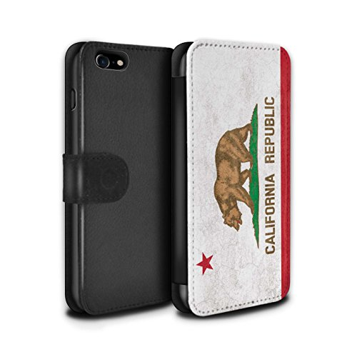 Stuff4® PU-Leder Hülle/Case/Tasche/Cover für Apple iPhone 8 / Kalifornien Muster/Jahrgang USA-Staat Flagge Kollektion (Fall Flagge Iphone Kalifornien)