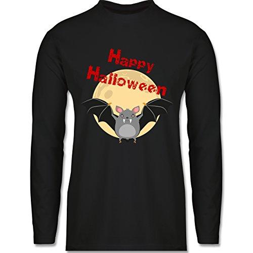 Shirtracer Halloween - Happy Halloween Fledermaus - Herren Langarmshirt Schwarz