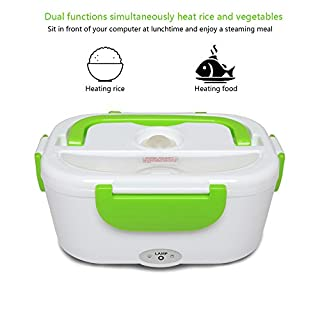Electric Heating Lunch Box Portable Food Storage Warmer-Removable PP Container 1.05L Capacity/40W Power/220V Voltage for Office School Travel by Aoxun