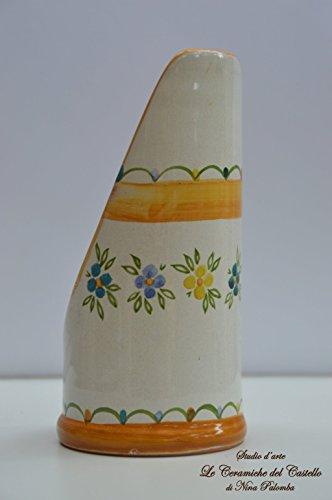 Portabicchieri di plastica Linea Fiori Arancio/Blu Ceramica Realizzata e Dipinta a Mano Le Ceramiche del Castello Nina Palomba Pezzo Unico