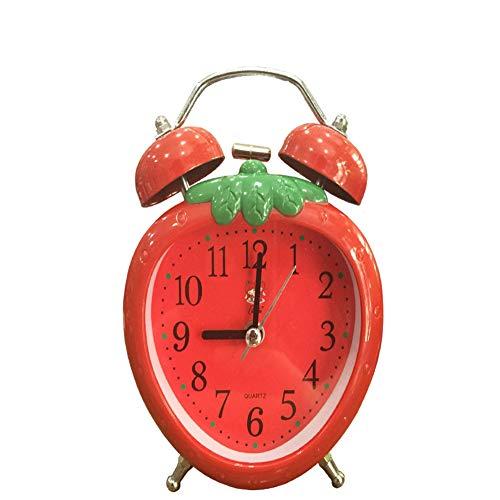 QQCC Kind Wecker Klingeln Der Glocke Stummschalten Wecker Niedlich Erdbeere Nachttisch Wecker,Red
