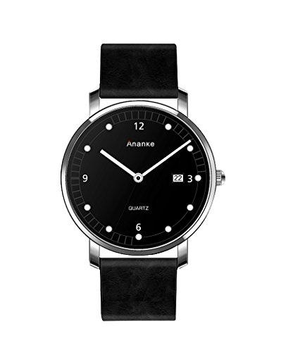 Ananke Herren Uhr Analog-Digital Quarz mit Leder Armband Wasserdichte Schwarz XSBCP0026