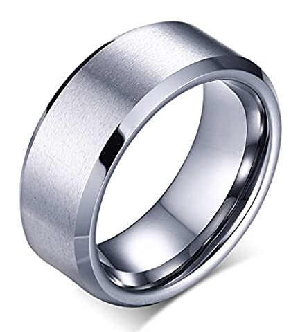 Beydodo Mens Tungsten Carbide Rings Brushed Comfort Fit White Gold Plating Wedding Bands 8mm Size X