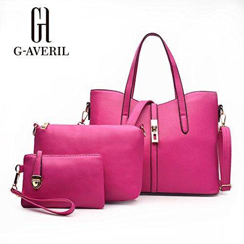 (G-AVERIL)Le donne annata della borsa del cuoio del sacchetto di spalla del Tote della cartella Hobo Set rosa rossa