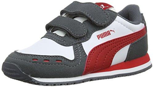 Puma Unisex-Kinder Cabana Racer SL V Inf Sneaker, Weiß White-Iron Gate-Ribbon Red 63, 22 ()