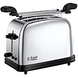 Russell Hobbs 23310-57 Toaster Grille Pain 1200W Chester, 2 Fentes, Chauffe Viennoiseries, 6 Niveaux de Brunissage - Inox