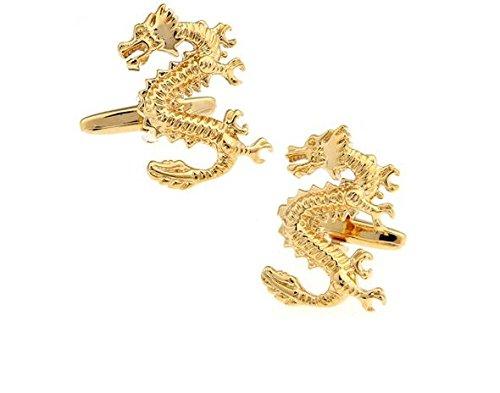 Bouton de manchette dragon or