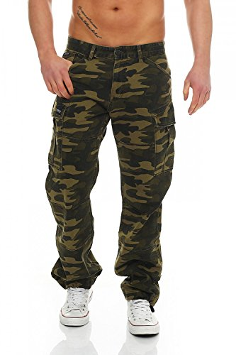 Comfort Fit Herren Jeans (Big Seven Brian Cargo Hose Green Camouflage Comfort Fit Herren Jeans, Hosengröße:W42/L32)