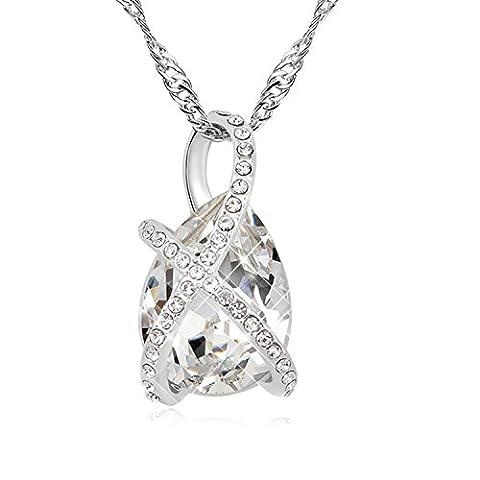 FANSING Bijoux Cadeau Autrichien Cristal 2.6*1.4cm Pendentifs Fantaisie Colliers Pour Femme 40+5cm