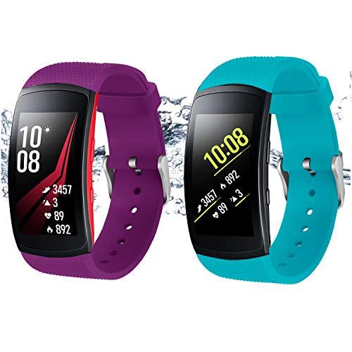 Rukoy Armband für Samsung Gear Fit 2 Band/Gear Fit 2 Pro [2-Pack: Blaugrün + Lila], Uhr Straps Zubehör für Samsung Gear Fit2 Pro SM-R365 / Gear Fit2 SM-R360 Smartwatch (5,9