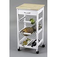 Kit Closet 7040028002 - Carro de cocina con cestas + botellero, madera, 37 x