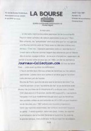 BOURSE (LA) [No 10] du 07/05/1987 - NICOLAS MIGUET.