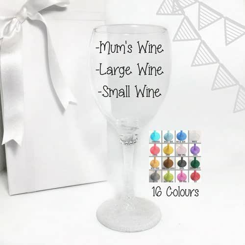 Funny wine glasses for mum wine gifts for mom glitter stem wine glass in a colour of your - Funny wine glasses uk ...