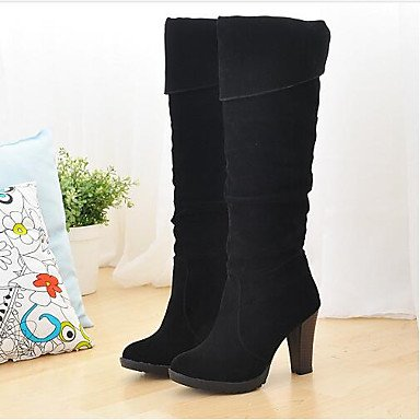 Wuyulunbi @ Mujer Zapatos Primavera Otoño Comfort Botas De Moda Botas A La Rodilla Muslo Botas Altas Para Casual Marrón Negro Us8 / Eu39 / Uk6 / Cn39