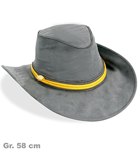 Gelbe Kostüm Hut - Südstaaten-Hut KW 58 grau mit gelber Kordel Kostüm Amerika Militär Armee