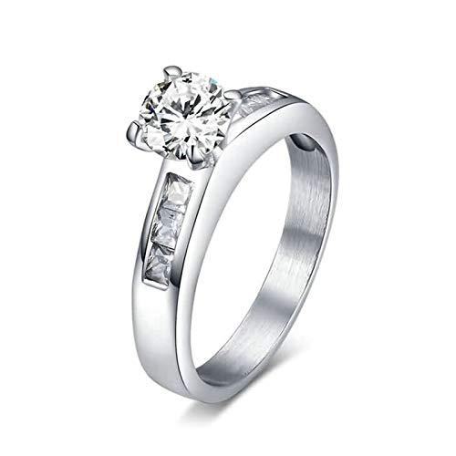 Beydodo 925 Sterling Silber Ring AAAA Zirkonia Rund 4.3 MM Ehering Verlobungsring Silber Gr. 45 ()
