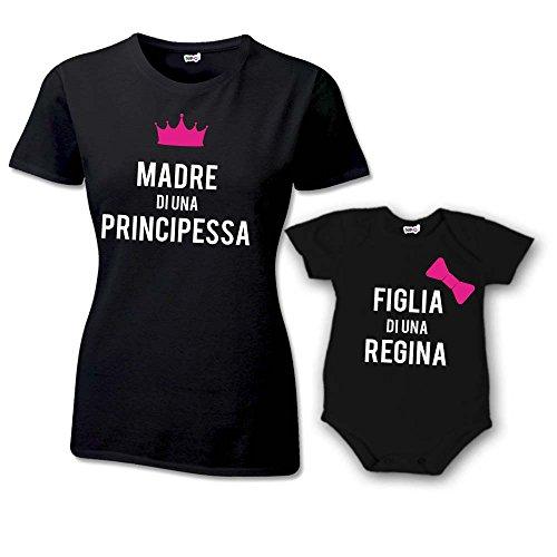 Coppia T-Shirt e Bodino Donna Bambino Festa Della Mamma Famiglia Reale T-Shirt Nere Mamma e Femminuccia