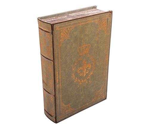Buchbox-Geschenkbox-Fleur-de-Lis-aus-weichem-Lederimitat-Bcherbox-mit-Goldprgung-als-Schatzkiste