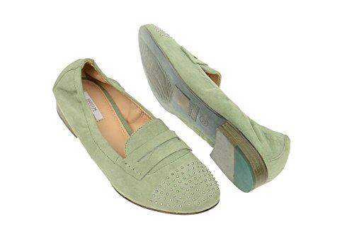Geox Alix A Slipper Damen Schuhe in sage grün Velour D32T1A Grün