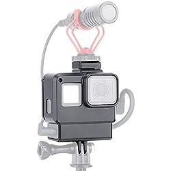 LICHIFIT V2 Vlog Boîtier de Protection avec Support pour caméra GoPro Hero 7/6/5 Action Caméra Micro Adaptateur Vlogging Cage Cadre Accessoire