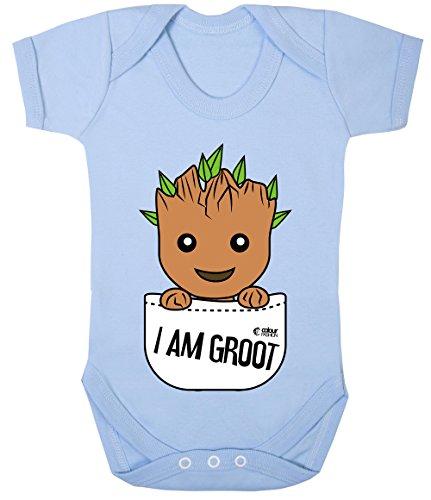 Colour Fashion Groot Im Tasche Superheld Lustig Kostüm Baby Body 100% Cotton 0-24 - Himmelblau, 0-3 - 0 3 Monat Superheld Kostüm