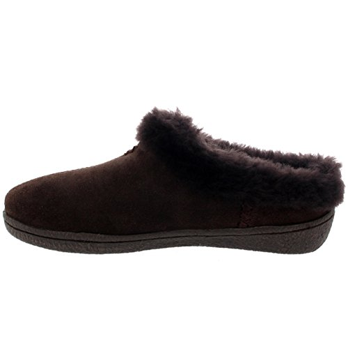 Donna Camoscio Di Pecora Australiana Foderato Di Pelliccia Pantofole Marrone