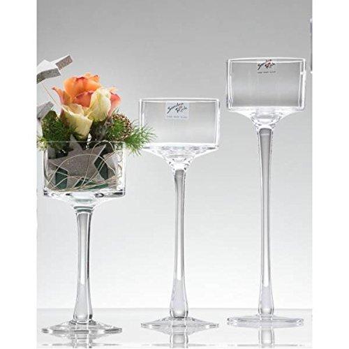 3 Größen, Teelichthalter auf Fuß H. 20 + 25 + 30cm D. 9cm rund Sandra Rich
