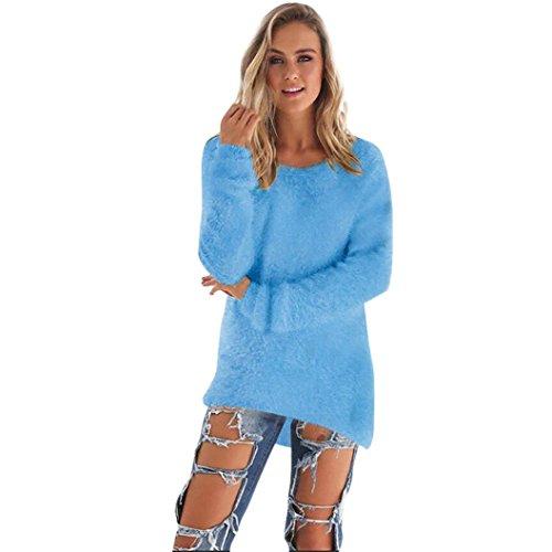 FORH Damen Mode O-Hals Einfarbig warm weich Lange Ärmel Pullover Pullover Bluse (Größe:S/M/L/XL/2XL/3XL)) (M, Himmel Blau) (V-hals T-shirt Grau Damen)