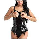 Dorical Damen Sexy Große größe Lack Leder Dessous Unterwäsche Bodysuit Nachtwäsche Rückenfrei M-4XL Rabatt(Schwarz,XX-Large)
