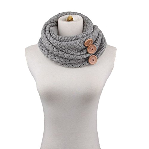 Pixnor Winter Frauen Warm Infinity zwei Circle Kabel stricken Cowl Neck langer Schal Schal hellgrau (Stricken Lange Schal Kabel)