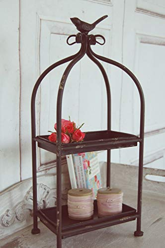 Charmante Etagere mit Vogel im Landhaus Shabby Antique Chic, schwarz