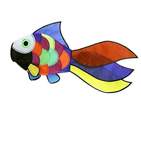 EMMAKITES Cute Rainbow Fish Windsock Rainbow Spiral for Backyard Garden Patio Decoration Beach Wind Game Mark Flyer Swivel