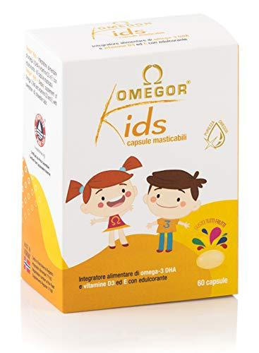 Omegor Kids Kapseln | 250 mg Omega-3-DHA für Kinder | Erlesene Weichkapseln in Fischgelee, gesüßt und kaubar Probieren Sie alle Früchte, 60 cps -
