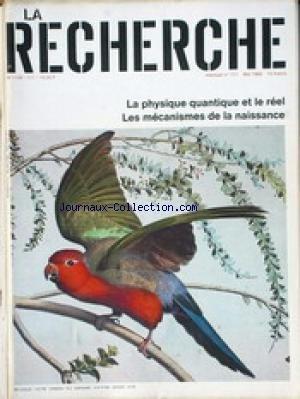 RECHERCHE (LA) [No 111] du 01/05/1980 - LA PHYSIQUE QUANTIQUE ET LE REEL - LES MECANISMES DE LA NAISSANCE. par Collectif