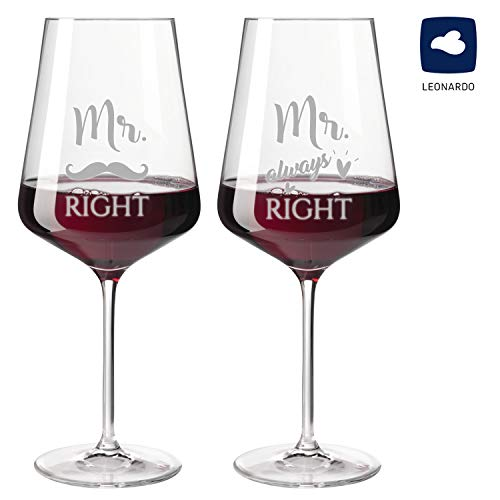 Glas mit Gravur als Hochzeitsgeschenk für gleichgeschlechtliches Paar - Geschenk für homosexuelles Hochzeitspaar | Hochwertiges Sektglas oder Weinglas (Rotweinglas (2er Set), Motiv Mr. & Mr.)