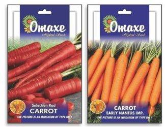 Tradico Carrot Nantes und Rote Auswahl 2 Packungen X 50 Samen Jede Marke Omaxe Verkauft von Super Agri Green