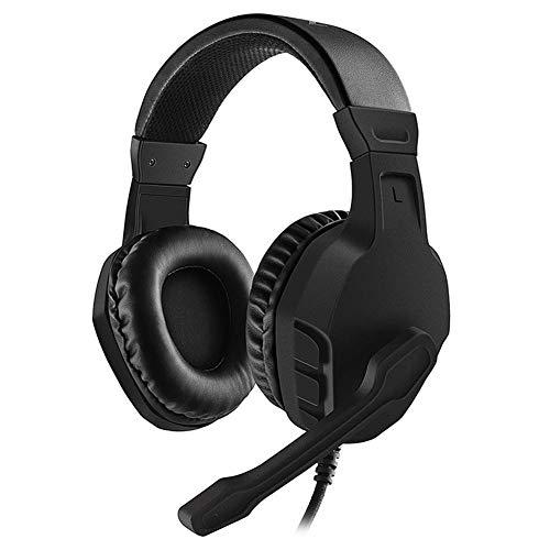 E-Sport-Spiel-Kopfhörer, Subwoofer Headset mit drehbarer Rauschunterdrückung Mikrofon und Lautstärkeregler, Weich Earmuffs Kopfhörer for PS4, Nintendo Switch, Xbox One, PC, Rot ( Color : Black )