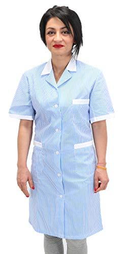 Petersabitidalavoro camici da lavoro donna imprese di pulizia operaia domestica cameriera ai piani (l=50-52, righe azzurre)