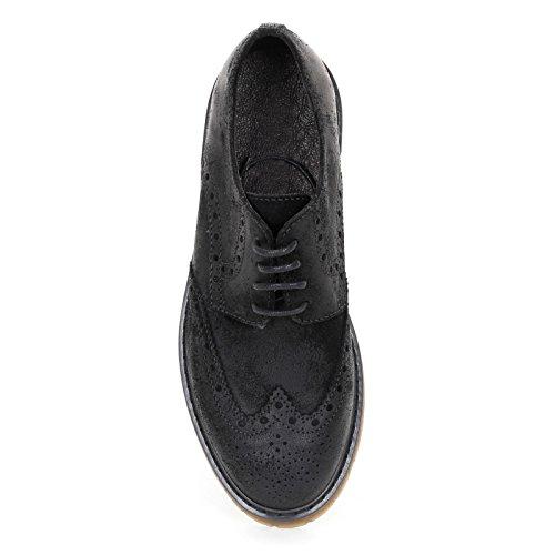 MARINA SEVAL by Scarpe&Scarpe - Chaussures à lacets avec queue d'aronde et fond rayé, Chaussures Plates, en Suède Noir