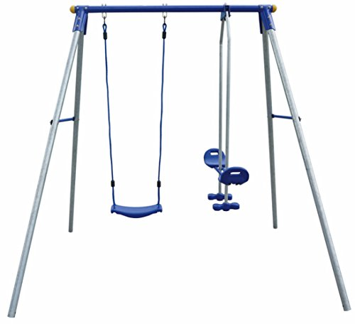 Izzy Schaukelgestell Metall mit Brettschaukel und Tellerwippe, bis 110 kg, mit Bodenanker 200x162cm - Schaukel Kinder