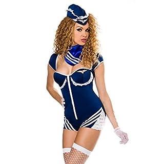 Atixo Retro Stewardess-Kostüm von Saresia roleplay - blau/weiß, Größe Atixo:XS-M