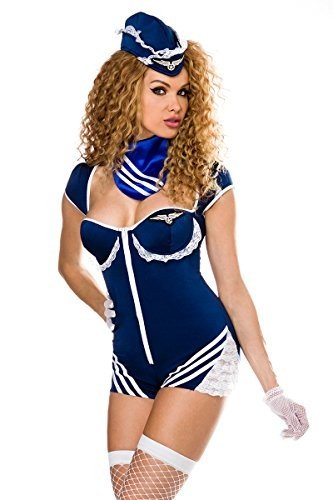 Atixo Retro Stewardess-Kostüm von Saresia roleplay - blau/weiß, Größe (Stewardess Kostüme Retro)