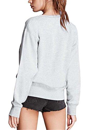Gogofuture Felpe Donne Casual Girocollo Ricamato Fiore Sweatshirt Manica Lunga Maglione Classico Donna Elegante Cappotto Pullover Grey