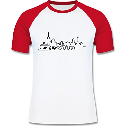 Shirtracer Skyline - Berlin Skyline - Herren Baseball Shirt Weiß/Rot