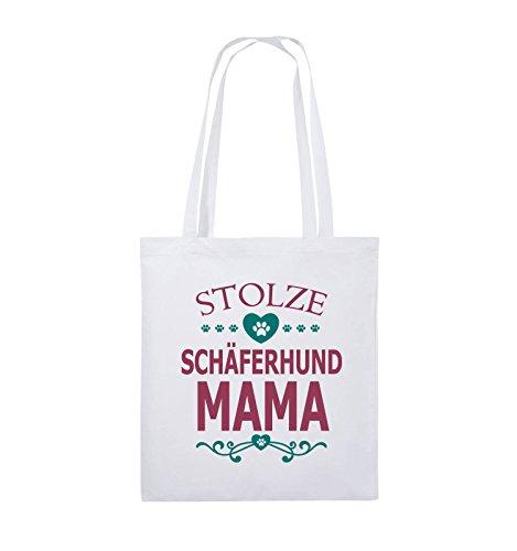 Comedy Bags - Stolze Schäferhund Mama - HERZ - Jutebeutel - lange Henkel - 38x42cm - Farbe: Schwarz / Weiss-Neongrün Weiss / Fuchsia-Türkis