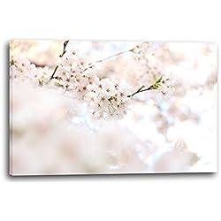 Fotos de flores flores flores blancas en el fondo, 80x60 cm, Impresión de la lona enmarcada en el marco de madera genuino y listo para colgar, impresión de la alta calidad hecha en Alemania.