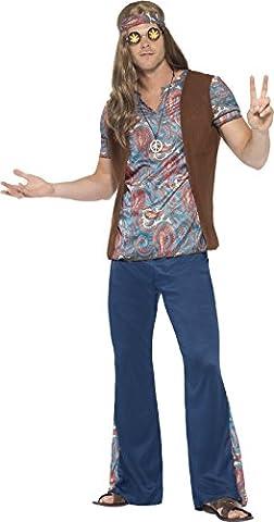 Smiffy's 45517M - Herren Hippie Kostüm, Oberteil, Hose, Kopftuch und Medaillon Größe: M, blau