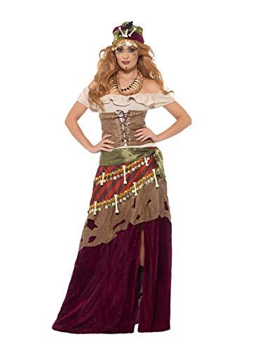Smiffys Damen Deluxe Voodoo Priesterin Kostüm, Kleid, Schärpe, Hut und Kette, Größe: 44-46, 48014