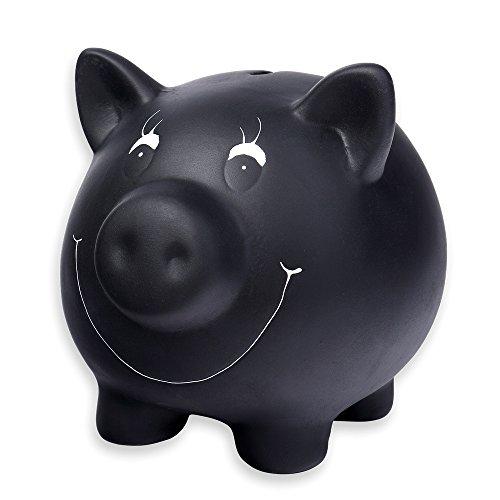 n schwarz aus Keramik mit Tafellack beschreibbar mit Kreide Spar Schwein Schweine inklusive Kreide und verschließbar ()